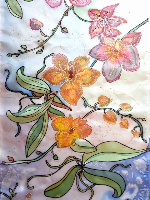 """Šilko šalikėlis """"Orchidėjų elegancija"""""""