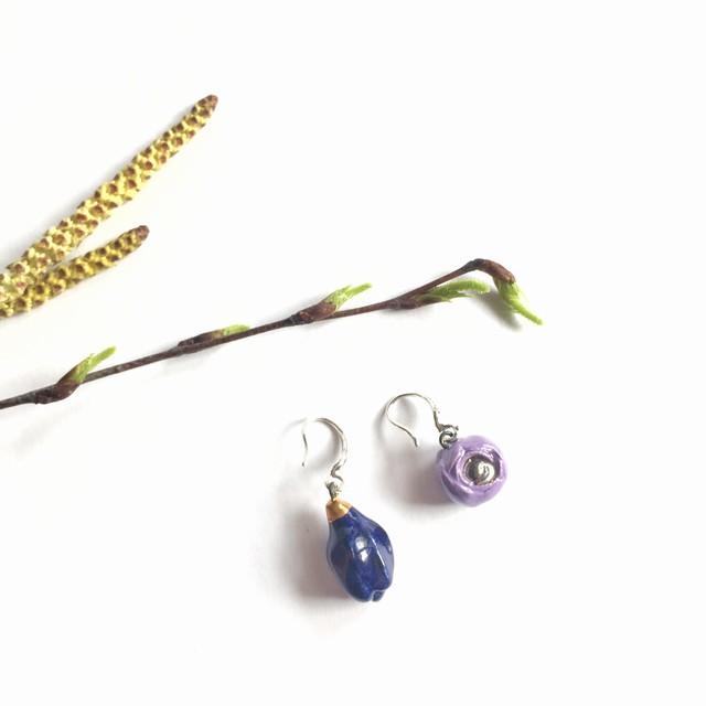 "Keramikos auskarai ""Mėlyna magnolija"""