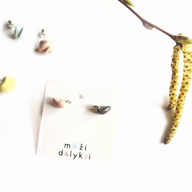 """Mini keramikos auskarai """"Paukšteliai"""""""